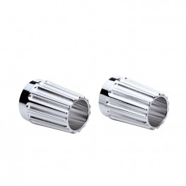 Grooved Exhaust Tips in Chrome, Pair