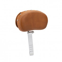 Genuine Leather Rider Backrest Pad, Desert Tan with Studs