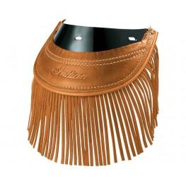 Genuine Leather Rear Mud Flap with Fringe, Desert Tan