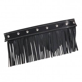Genuine Leather Floorboard Trim with Fringe in Black with Studs, Pair