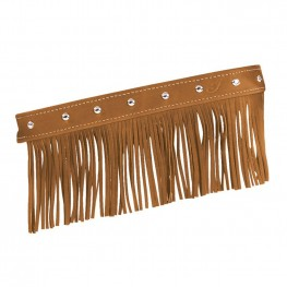 Genuine Leather Floorboard Trim with Fringe in Desert Tan with Studs, Pair