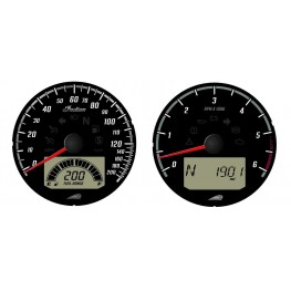 Speedometer and Tachometer Dials, Black with Chrome Bezel