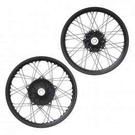 Aluminum 19 in. Front and 18 in. Rear Spoke Wheel Set, Black