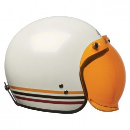 Open Face Retro Helmet with Stripes, White