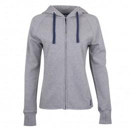 Women's Contrast Zip-Up Hoodie Sweatshirt, Gray