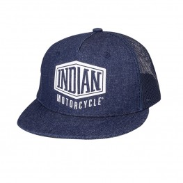 High Profile Denim Trucker Hat, Blue