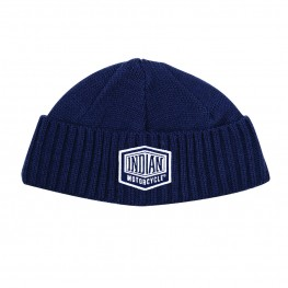 Knitted Beanie with Shield Patch, Blue