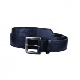 Leather Belt with Embossed Script Logo, Black