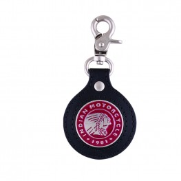 Icon Leather Key Ring, Black/Red