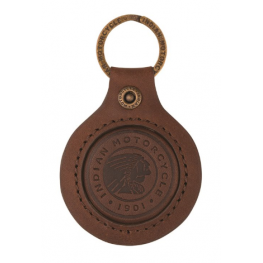 Leather Keyring with Embossed Circle Icon, Brown